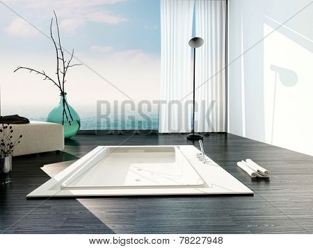 Stylish sunken bath in a modern bathroom with large floor-to-ceiling glass windows with white blinds and view of a cloudy blue sky casting sunlight across the parquet floor and bathtub. 3D Rendering.