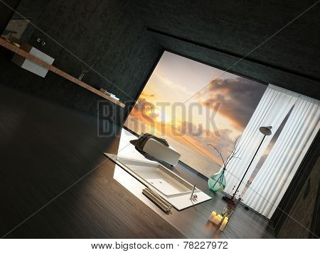 Romantic bathroom interior with burning candles and candlelight alongside a sunken tub with a view of a colorful orange sunset through panoramic floor-to-ceiling windows. 3D Rendering.
