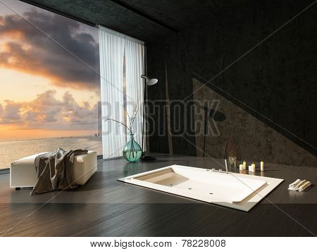 Romantic sunken bathtub in a dark accented modern bathroom with parquet floor and panoramic view window at sunset with candles and clothes draped on an ottoman. 3D Rendering.