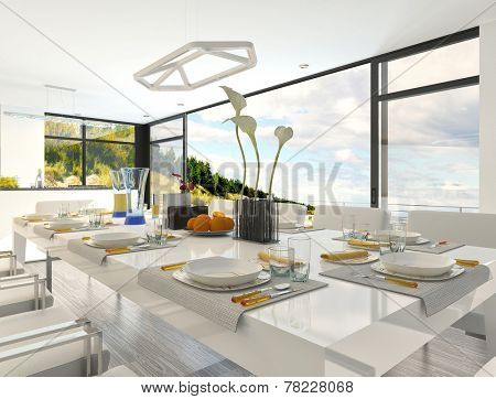 Elegant Formal Table Setting at the Dining Area Inside Architectural White House. 3D Rendering.