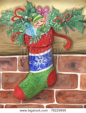Cute Santa's little elf in a stocking