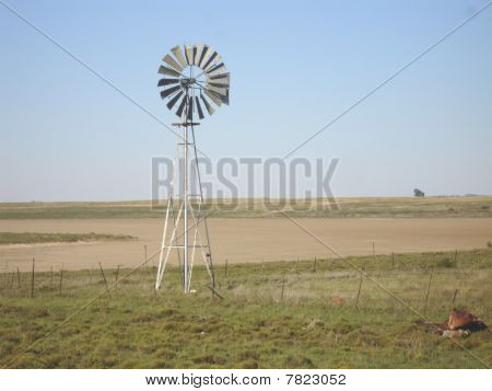 Windmill on dry land.