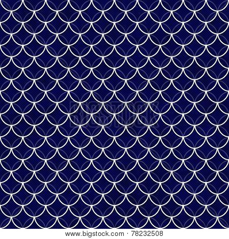 Navy And White Shells With Interlocking Circles Tiles Pattern Repeat Background