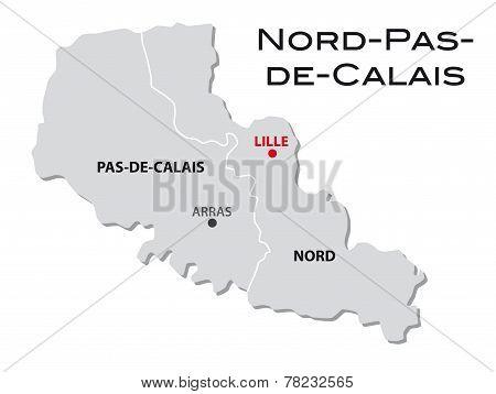 Simple Administrative Map Of Nord.pas-de-calais