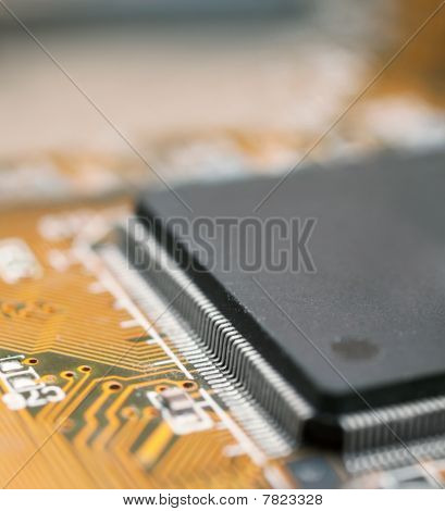 Closeup Of Electronic Circuit Board Of Computer