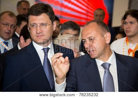 MOSCOW, RUSSIA, JUNE, 16: Alexander Novak, Russian Energy Minister Alexander Novak and D. Pumpyanskiy, Chairman of Sinara. 21st WPC, June, 16, 2014 at Crocus Expo  in Moscow, Russia