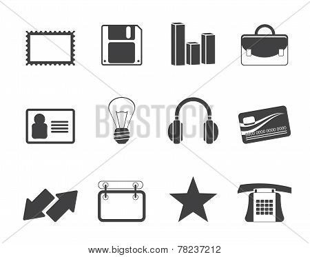 Silhouette Office and business icons
