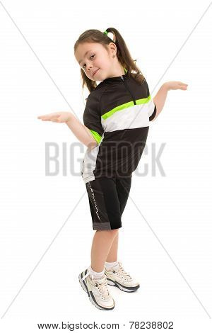 Five Year Old Girl Isolated On White