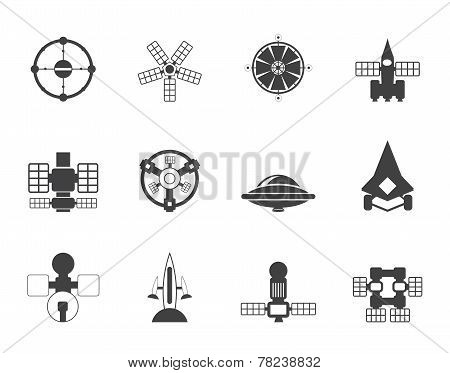 Silhouette different kinds of future spacecraft icons