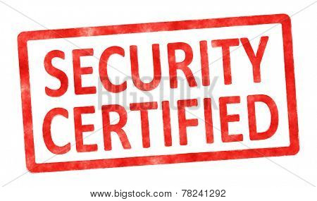An image of a stamp with the text security certified