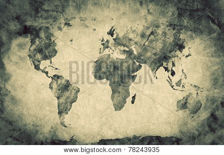 Ancient, old world map. Pencil sketch, grunge, vintage background texture. Sepia retro mood