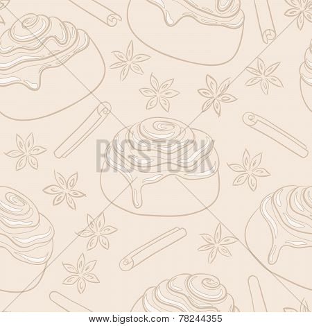 Seamless pattern with cinnamon rolls with frosting and spice.