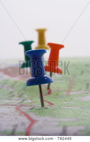 Pushpins in a map