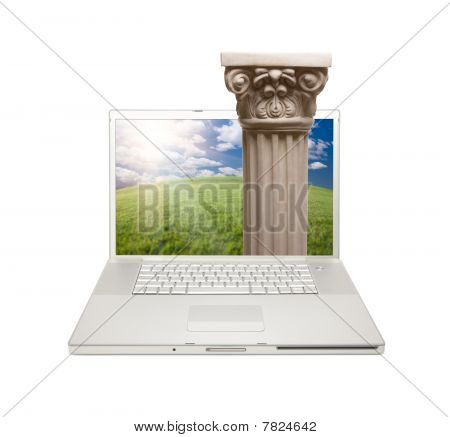 Silver Computer Laptop Isolated With Column