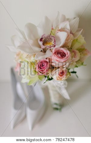 Wedding Bouquet  With Orchids And Roses And Wedding Bride's Shoes