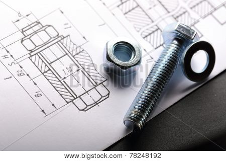 Drafting And Screw Bolt With Nut