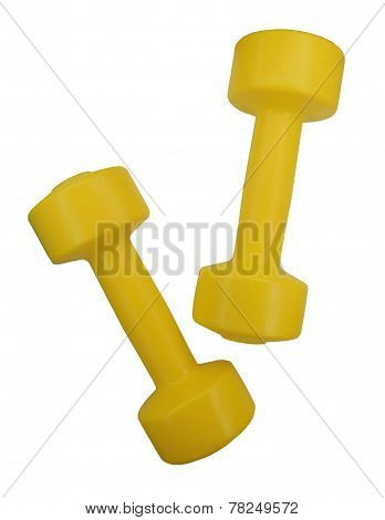 Two yellow dumbbells for sports, isolated
