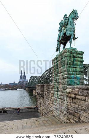 Cityscape Of Cologne From The Rhine River Bridge