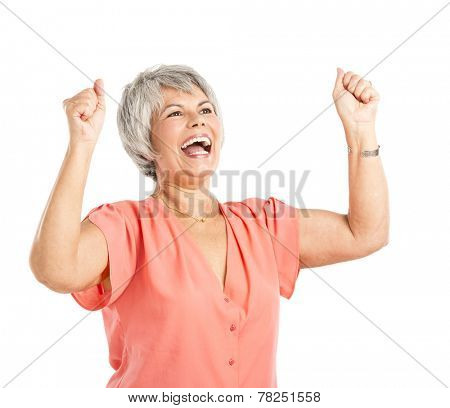 Happy old woman with both arms on the air, isolated on a white background