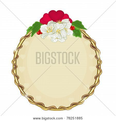 Valentine Day Golden Round Frame Hearts With Flowers  Background Vector
