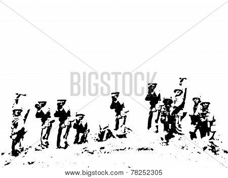 Soldiers in battlefield