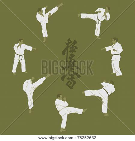 Illustration, Men Engaged In Karate.