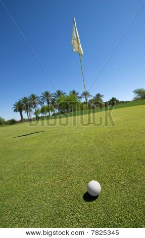 Golf Ball Ongreen With Flag