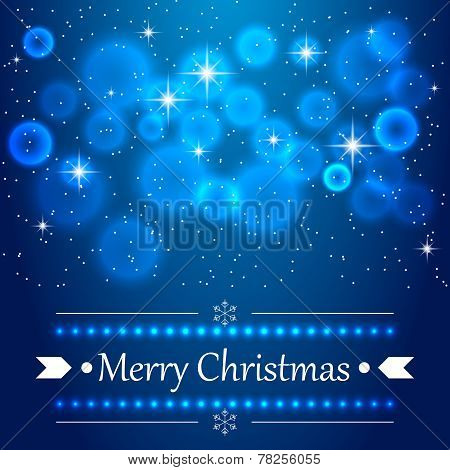 Blue Christmas background with flares on the sky.