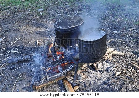 Cooking On Camp Fire.