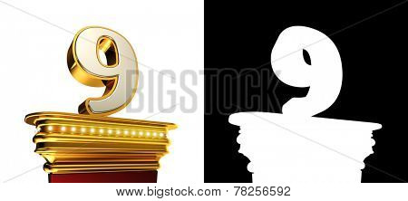 Number Nine on a golden platform with brilliant lights over white background with alpha map