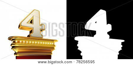 Number Four on a golden platform with brilliant lights over black background with alpha map