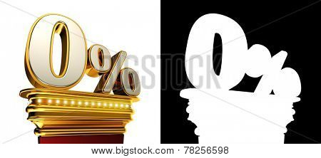 Zero percent figure on a golden platform with brilliant lights over white background with alpha map for easy isolation