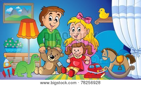 Children with toys theme image 2 - eps10 vector illustration.