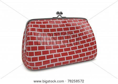 closed purse  with red brick wall patern isolated on white background