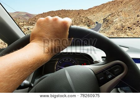 driving a car on street