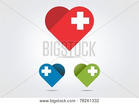 cross medical heart vector logo design
