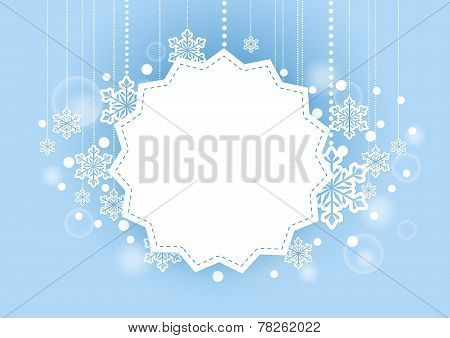 Winter Beautiful Background with Snow Flakes Hanging and White Space for Words