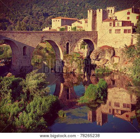 Medieval town with bridge. Besalu,  Spain