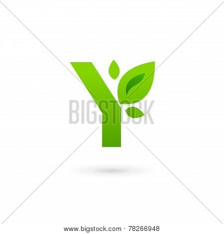 Letter Y Eco Leaves Logo Icon Design Template Elements