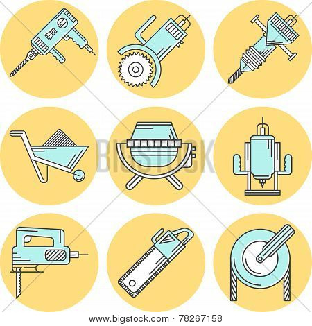 Flat line colored vector icons for construction equipment