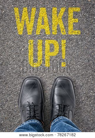 Text on the floor - Wake up