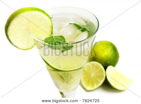 Lemonade With Lime Isolated On White Background