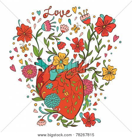 Illustration of human heart with beautiful flowers growing out of it