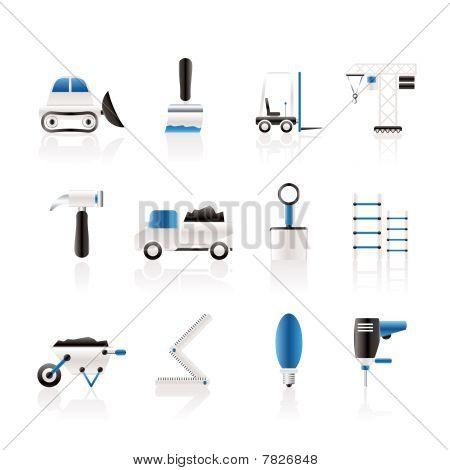 Ícones de equipamentos de construção civil