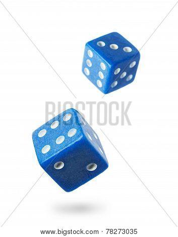 Two Blue Gambling Dice