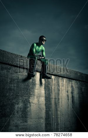 Superhero With Dramatic Sky On Background