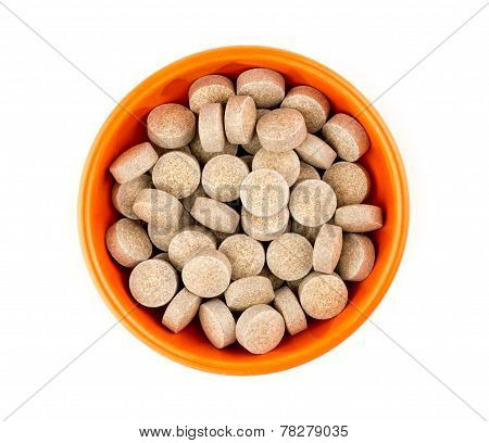 Orange Herbal Multi-vitamin Pill Tablets Against White