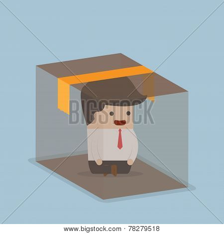 Businessman Sitting Inside The Box