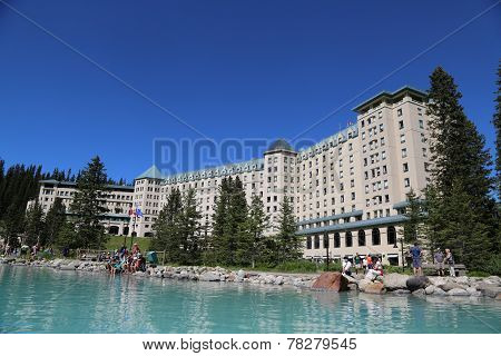 View of the famous Fairmont Chateau Lake Louise Hotel