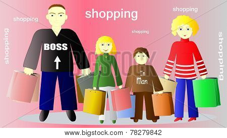 Illustration Of Family With Shopping